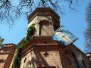 Edificio Central, building with Argentine flag, Carlos Thays Botanical Garden, Jardín Botánico Carlos Thays de la Ciudad Autónoma de Buenos Aires, Argentina