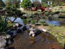View of stone lantern, koi lagoon, trees and bridges, Buenos Aires Japanese Gardens, Jardín Japonés de Buenos Aires, Parque Tres de Febrero, Palermo neighborhood, Argentina