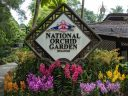 Entrance sign with vanda orchids, Singapore National Orchid Garden located in Singapore Botanic Gardens