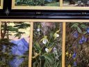Artwork with Lady Slipper orchids, The Marianne North Gallery at Royal Botanic Gardens, Kew in London, UK; oil paintings done by Marianne North, English biologist and botanical artist
