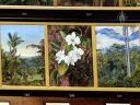 Artwork with Moth Orchid, Phalaenopsis, Phal, white flowers, The Marianne North Gallery at Royal Botanic Gardens, Kew in London, UK; oil paintings done by Marianne North, English biologist and botanical artist